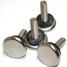 """LOT OF 4 POLISHED 1 1/16"""" DIAMETER LEVELING THREADED NICKEL GLIDES"""