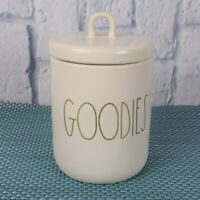 """New Rae Dunn GOODIES Ivory Gold Canister With Lid Ceramic Storage Container 6.5"""""""