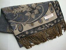 NEW Pashmina Winter Scarf Scarves Silk Gray Grey Beige Floral Shawl Wrap Range
