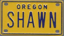 SHAWN Yellow Oregon - Mini License Plate - Name Tag - Bicycle Plate!