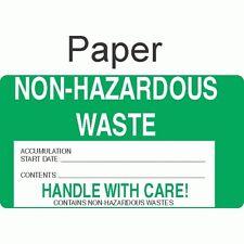 Non-Hazardous Waste NHWA64 Paper Labels (ROLL OF 500)
