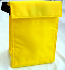 BRIGHT YELLOW - Reusable LUNCH Bag - Insulated - Tab Closure - Front Pocket