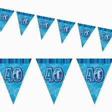 9ft Blue Sparkle Happy 40th Birthday Pennant Flag Banner Party Decoration