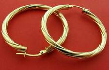 9CT YELLOW GOLD 30X3MM ROUND TWISTED TUBE HOOP CREOLE SLEEPER EARRING GIFT BOXED