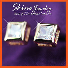 18K GOLD GF 1CT SIGNITY DIAMOND MEN WOMEN GIRLS SOLID BEZEL SQUARE STUD EARRINGS