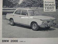 1966 BMW 2000 Original Autocar Magazine Road test