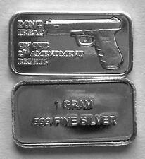(10) 1 GRAM 0.999+ PURE SILVER 2nd AMENDMENT BARS (3A)
