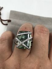 DAVID YURMAN CABLE WRAP RING WITH PRASIOLITE AND DIAMONDS SIZE 8