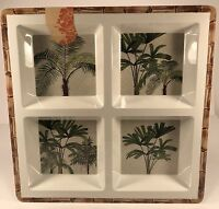 Tommy Bahama Palm Tree Bamboo Design 13.5 Square Divided Serving Tray New