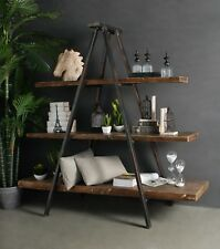 Industrial Tripod Bookcase Bookshelf Storage Shelf Display Unit Rustic New