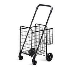 Folding Shopping Cart Jumbo Basket Rolling Utility Trolley Adjustable Handle