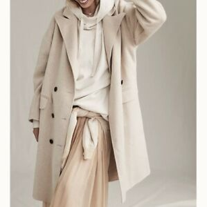 FREE PEOPLE Adore You Wool Sand Sable Beige Coat Size UK S BNWT RRP £228$