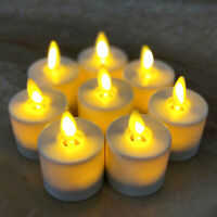 Set of 8 Luminara Moving Wick LED Tea Lights Candle Battery Operated with Remote