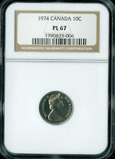 1974 CANADA 10 CENTS NGC PL67 2ND FINEST REGISTRY *
