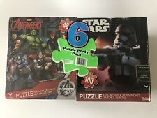 6 Puzzle Party Pack Marvel Avengers Disney Star Wars Ultimate Spider Man New