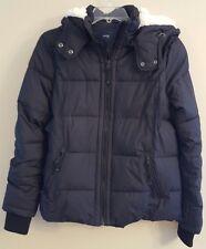 NWT AMERICAN EAGLE Misses Puffer Jacket SMALL Black Sherpa Hood #157084