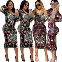 Woman O Neck Midi dress Geometric Printed Long Sleeve Bodycon dress S-XL 2Color