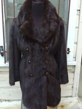Vintage 70's Dark Brown Ranch Mink Fur Coat! Small Med