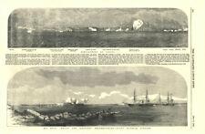 Odessa Bombardment. HMS Hecla & Leopard reconnoitring Hango harbour Finland 1854