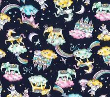 Unicorn Castle Fairytale Fantasy Elephants cotton 100% poplin Navy