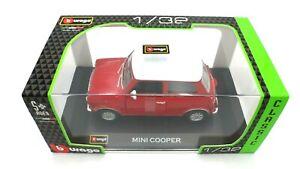 BURAGO MINI COOPER 1969 1/32 RED WHITE ROOF12008