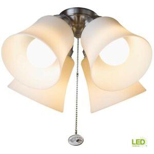 Hampton Bay Williamson 4-Light LED Ceiling Fan Light Kit Nickel 1002 745 234