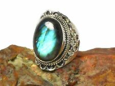 LABRADORITE   Sterling  Silver  925  Gemstone  RING  -  Size  N  -  Gift  Boxed!