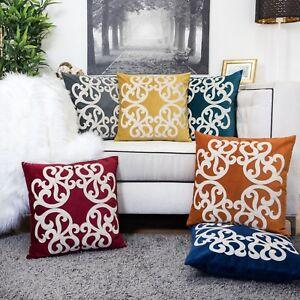"""Homey Cozy Applique Sparkly Vine Velvet Pillow Cover Large Cushion Case 20x20"""""""