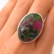 Tourmaline Gem Inlay Ring Size 7 925 Sterling Silver Vintage Real Multi-Color