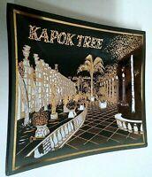 Vintage Dark Smoked Glass Kapok Tree Ashtray or Trinket Dish