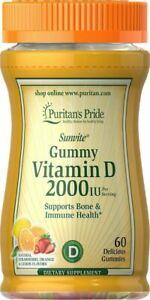 Puritan's Pride Vitamin D 50mcg (2000IU) 60 GUMMIES