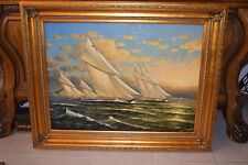 Large Original Sailboat Oil Painting, Into The Wind by Artist D. Kiewer
