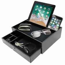 Valet Tray Nightstand Organizer Jewelry Key Wallet Caddy Phone Charger Desk Dock