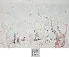 Dessin de Maurice LEONARD (1899-1971) Paysage fantastique