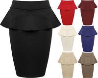 New Womens Plain Peplum Short Mini Ladies Stretch Bodycon Frill Skirt 8 - 14