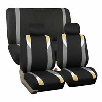 Car Seat Cover Set For Auto Sporty Beige W/ 2 Head Rests