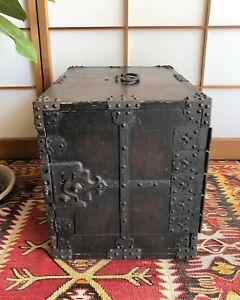 """Antique Japanese Wooden Furniture Sea chest Funa-tansu, Funa-dansu 1800s H.15.3"""""""