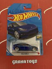 Tesla Model 3 #112 Blue 9/10 Factory Fresh 2020 Hot Wheels Case M