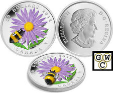 2012 $20 .9999 FINE 1oz. SILVER COIN – ASTER WITH GLASS BUMBLE BEE (12996)(NT)