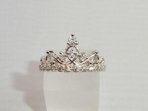 Damen Sterling 925 Silber Brillant geschnittener weißer Saphir-Krone  Tiara-Ring