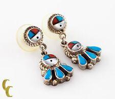 argento sterling 925 corallo & turchese orecchini pendenti