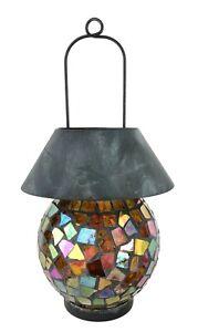 Iridescent Rainbow Glass Mosaic Candle Holder Lantern Globe Shade with Hanger