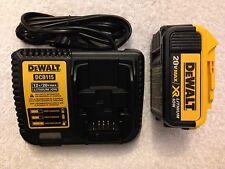 New Dewalt 20V Max XR DCB204 4.0Ah Lithium Ion Battery & DCB115 12V/20V Charger