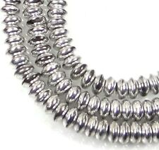 50 Czech Glass Rondelle Beads - Silver 4x2mm