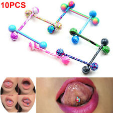 Wholesale 10PCS Stainless Steel Ball Barbell Tongue Ring Nipple Piercing Jewelry