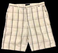 HURLEY | Men's Cotton Poly Plaid Shorts | White Brown Blue | 4 Pockets | Size 34