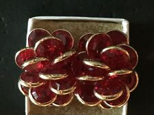 Fabulous Vintage Signed Swarovski Cherry Red Cluster Gold Tone Clip Earrings