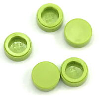 Lego 5 New Lime Tiles Round 1 x 1 Flat Smooth Pieces Parts