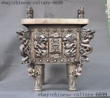 """18""""Marked old Chinese silver dynasty Dragon loong statue Incense Burner censer"""