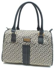 TOMMY HILFIGER Handbag Black Multi Bowler Satchel Tote Shoulder Purse New